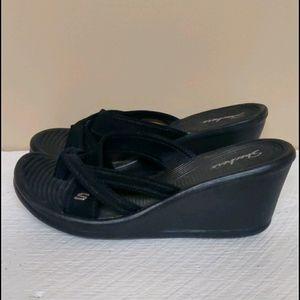 Skechers rumblers wedge black heel sandals